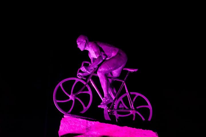 Marco Pantani statue Cesenatico promenade