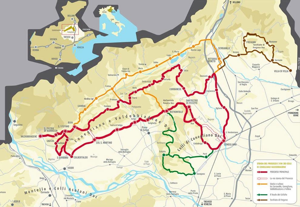 mappa strada del prosecco